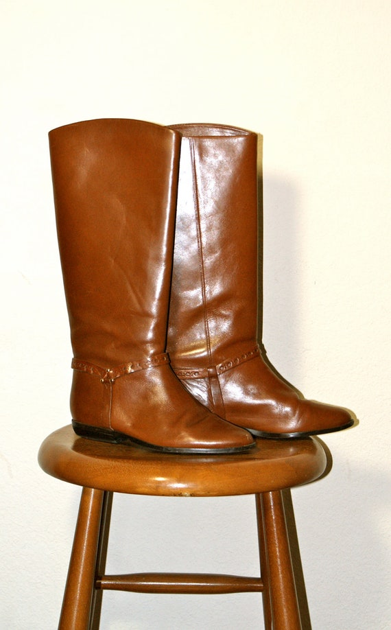 Vintage Brown Leather Riding Boots 5.5 Like New