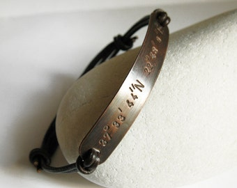 Copper Personalized Coordinates Bracelet, Latitude Longitude Leather Bangle, Custom Stamped Message, Men, Women, Wedding, Anniversary Gift