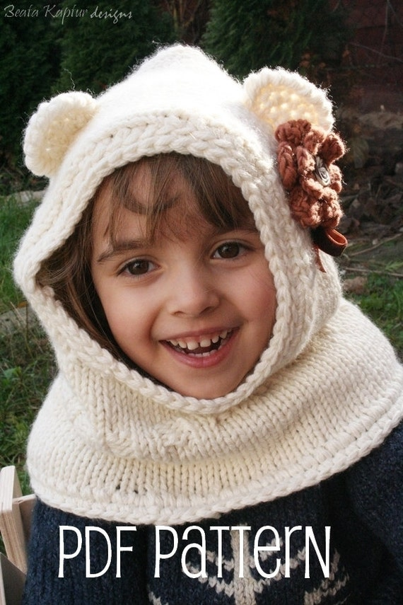 Knitting Pattern For Toddler Cowl : Items similar to Finnie Bear Hooded Cowl - Knitting ...