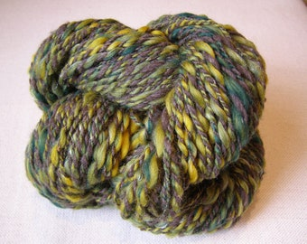 2 Ply Handspun Thick & Thin Art Yarn 'Green And Pleasant Land' Sparkle 150yards 4.5oz
