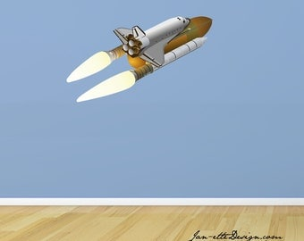 Space Wall Decal, Large Space Shuttle Fabric Wall Decal Part 13