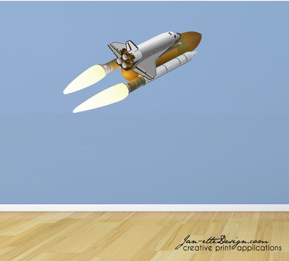 Space Wall Decal Large Space Shuttle Fabric Wall Decal