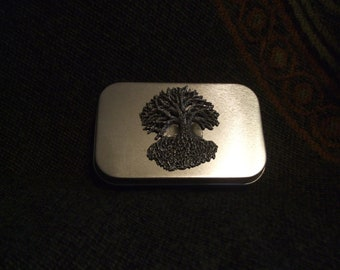 Tree of life with full moon metal pocket stash tin. treasure box home roller cigarette tin pocket size