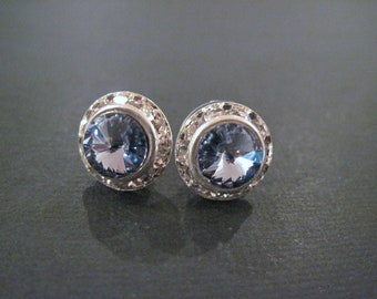 Lavender Swarovski Crystal Rivoli Studs/ Bling Earings/Bridesmaid Earings/ Wedding Jewelry/ Crystal Earings
