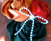 """Autumn Hair Accessory Clip, Fall Colored Rosettes, Holiday Accessory """"Free shipping"""""""