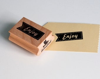 Enjoy tag rubber stamp