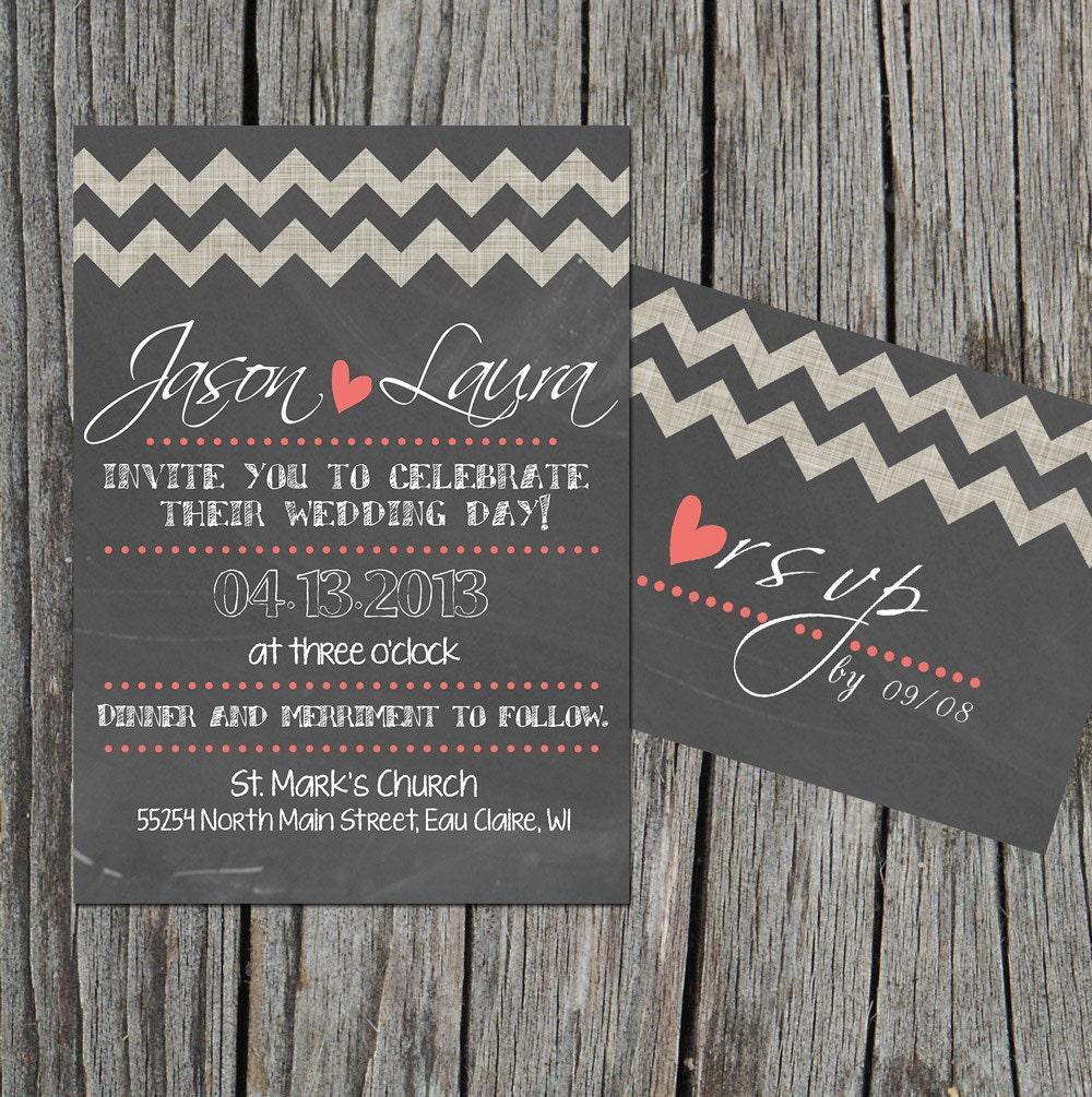 Diy Chalkboard Wedding Invitations: DIY Printable Wedding Invitation Set With RSVP By Themunch