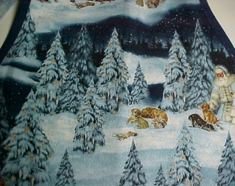 """Apron Women's """"Father Christmas and Pups""""  with 3 Flounces Handmade Full Apron"""