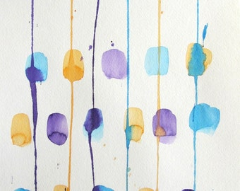 Original abstract blue, orange and purple block watercolor