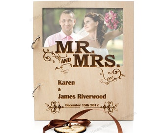 Mr and Mrs Wedding Guestbook and Engagement Photo Insert with a Gift Favor Tag Christmas Gift