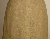 A-Line Mini Skirt in Golden Tweed Wool-Cashmere w.Front Snaps. on SALE.