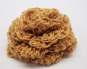 Gold Metallic Crocheted Rose with Pin Back
