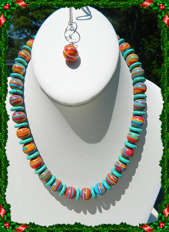 Turquoise necklace mingled colors