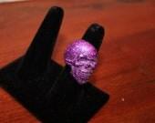 Purple Glitter Skull Resin Adjustable Ring