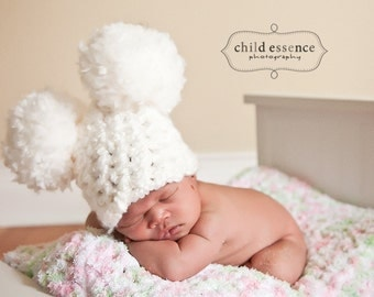 Newborn Hat Newborn Baby Hat Newborn Baby Girl Hat Newborn Baby Boy Hat Newborn Girl Hat Newborn Boy Hat White Pom Pom Mouse Ear Photo Prop