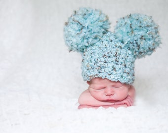 Baby Hat Baby Boy Hat Baby Girl Hat Photo Prop Photography Prop 0 to 3 Month Pom Pom Hat Ear Hat Baby Boy Clothes Baby Girl Clothes Sea Blue