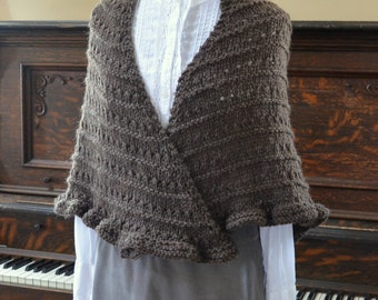 Hand Knit Brown Wool Shawl Ready to Ship