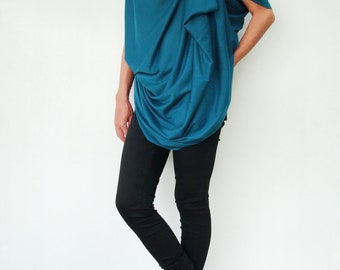 NO.60 Teal Cotton-Blend Jersey Origami Top Asymmetrical T-Shirt