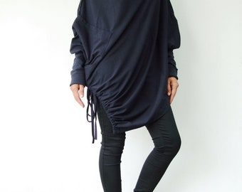 NO.59 Midnight Blue Cotton Jersey  Batwing Tunic, Loose Asymmetrical  Sweater, Women's Sweater