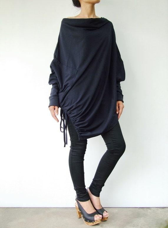 NO.59 Midnight Blue Cotton Jersey  Batwing Tunic, Loose Asymmetrical  Sweater, Women's Sweater