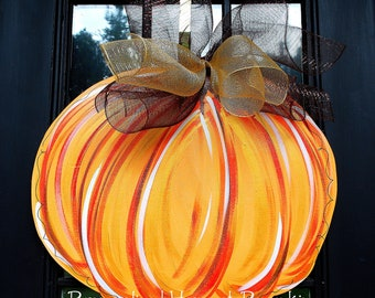 Pumpkin Door Hanger, Fall Home Decor, Thansgiving Door Decoration, Fall Wreath