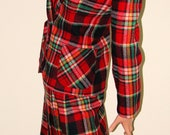 70s Red Plaid Wool fitted Skirt / Jacket Suit -JACK WINTER- kilt pleats  M - Nettetiques