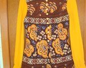 Vintage 1970s Mini Dress & Vest Boho Print Dress Hippie Vest Two Piece Set Brady Bunch Style Dress