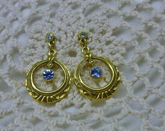 Powder Blue Rhinestone and Gold Tone Drop Earrings Pierced  No Mark Vintage 1960s Jewelry
