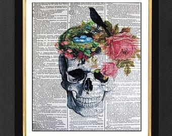 Skull Raven Art Print,Pink Roses Skeleton Prints, Mixed Media Skeleton Skull 8x10 Vintage Dictionary page, Dictionary art Dictionary print