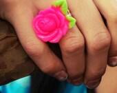 Creepy Cute Bright Resin Rose Ring on Filigree Silver base.
