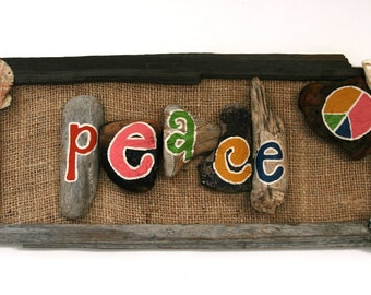 PEACE Driftwood & Burlap Hanging Sign with Shells (Made to Order) peacelovedriftwood