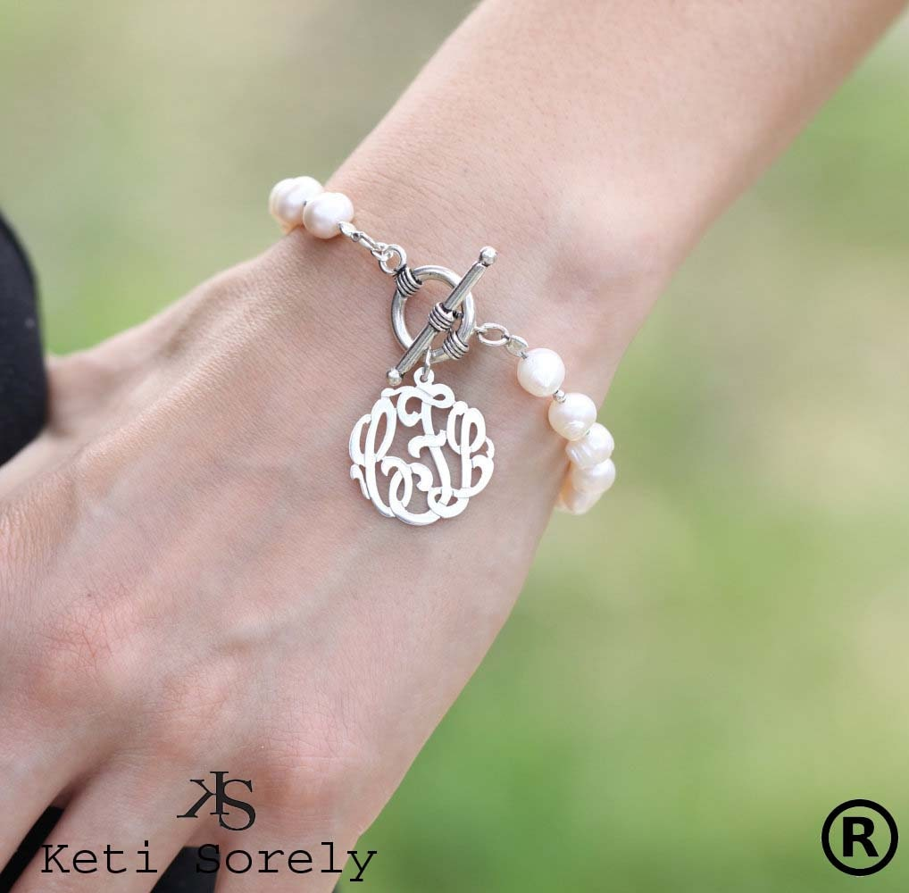 pearl bracelet with monogram toggle clasp personalized