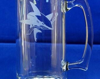 San Jose Sharks Hand-Etched 26.5 Oz. Beer Mug