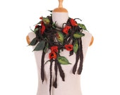 SALE! felt, felted necklace - brown, red flowers and leaves II -  by inmano