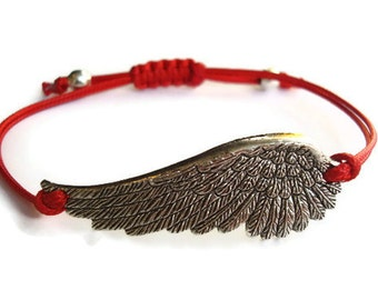 Angel Bracelet, Wing Bracelet, Angel Wing Charm Bracelet Red