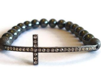 Sideways Cross Hematite Beaded Bracelet