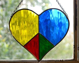 Valentine Gift Peace Heart Stained Glass Mother's Day Gift Stained Glass Peace Sign Heart Suncatcher Rainbow Gift for Lover