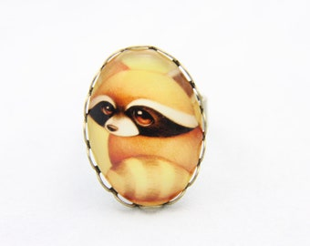 Raccoon Ring, Raccoon jewelry, cute ring, funny ring, 1825B