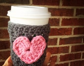 Heart Coffee cup cozy, gray and pink, thank you gift, gift basket, stocking stuffer, friend gift made to order