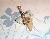 Druzy Pendant, Fossil Shark Tooth Pendant, 14K Gold Druzy Pendant, 14K Gold Pendant, Summer Jewelry, Sparkly Pendant, Druzy Pendant, Druzy