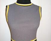 Womens Vintage Mod Black & Yellow Sleeveless Dress - Size 6