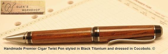 Handmade Cigar Twist Pen Blk Titanium, Cocobolo