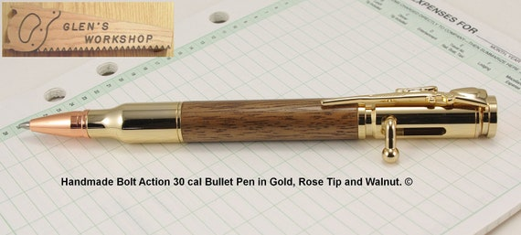 Handmade Bullet Pen in Gold & Walnut with Bolt Action