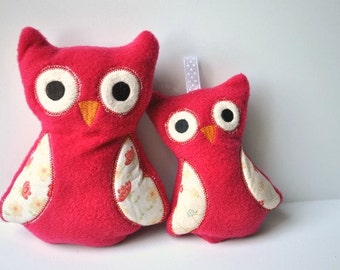 Plush Owl Gift Set - Red Owls - Rattle and Plush - Baby Gift Set - Customizable