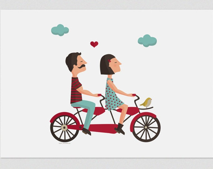 Illustration, Print, Tandem Love 1, Tutticonfetti, Wall art, Art decor, Hanging wall, Printed art, Decor home, Gift idea, Sweet home.