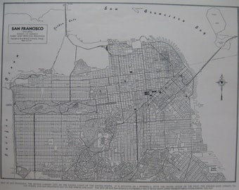 MAP of SAN FRANCISCO Map Vintage 1944 Black and White Gallery Wall Art Plaindealing 6659