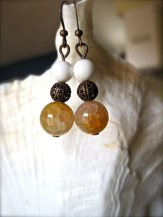 rustic copper earrings. honey amber agate. white coral beads.