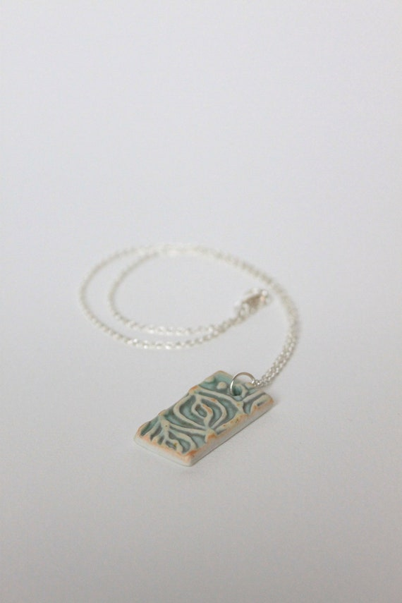 Porcelain Ceramic Pendant Necklace Rectangle with Slip Trailed Design in Yellow and Green Glaze OOAK