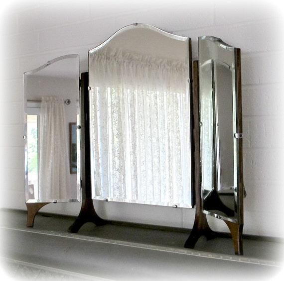 Antique Mirror Trifold Dresser Or Vanity Mirror With Three