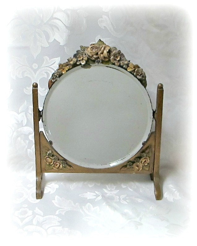 Barbola Mirror Vintage Swivel Frame 1930s Barbola Vanity